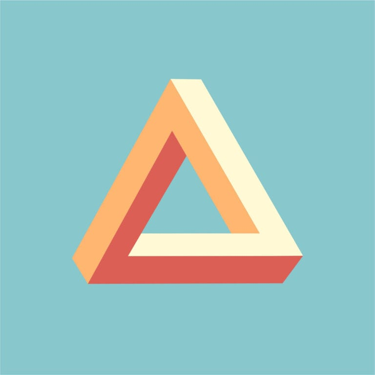triangle shape on blue background