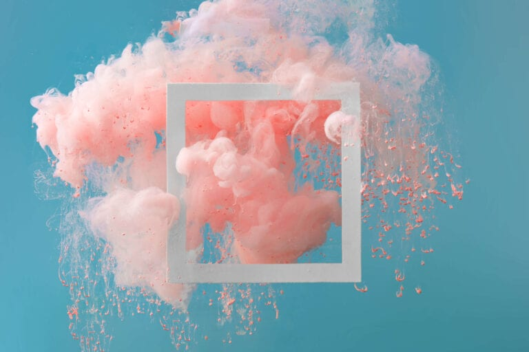 pink bursting cloud on blue background