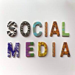 Assorted colour social media signage