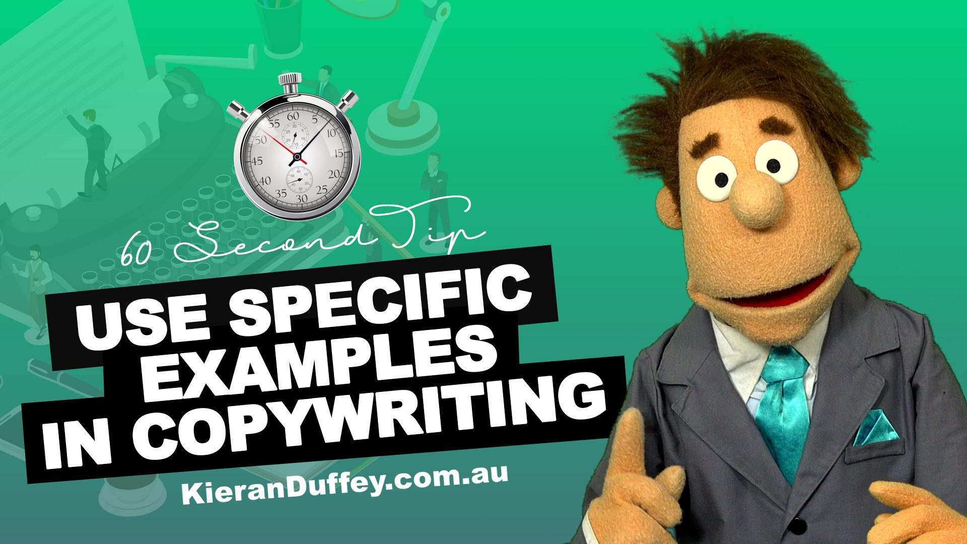 Video stressing the importance of using specific examples in copywriting
