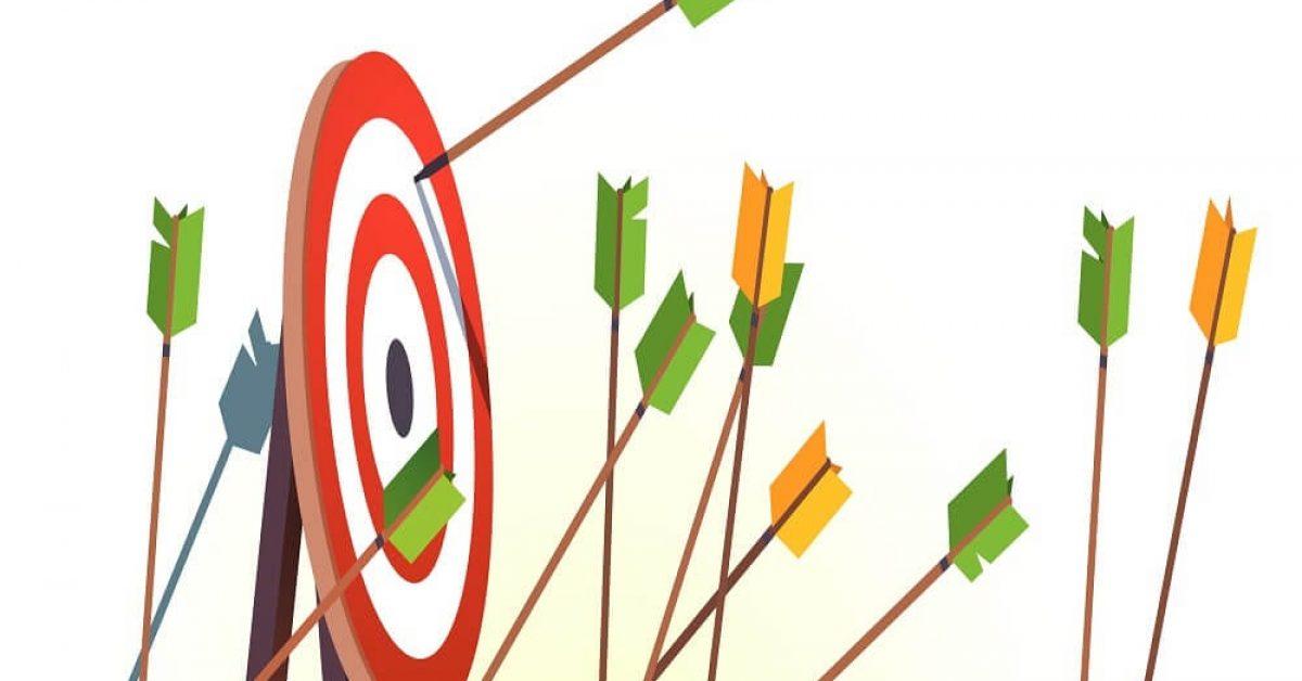 Many arrows missing target mark