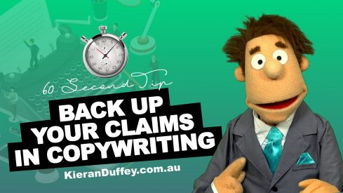 Video explaining why you need to back up your claims in copywriting