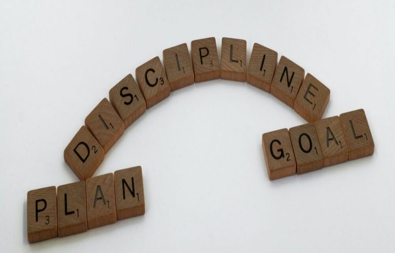 Brown wooden blocks on white background with discipline, plan and goal text