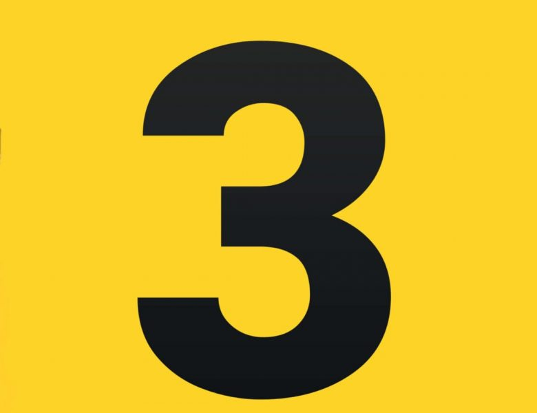 number 3 in black on yellow background