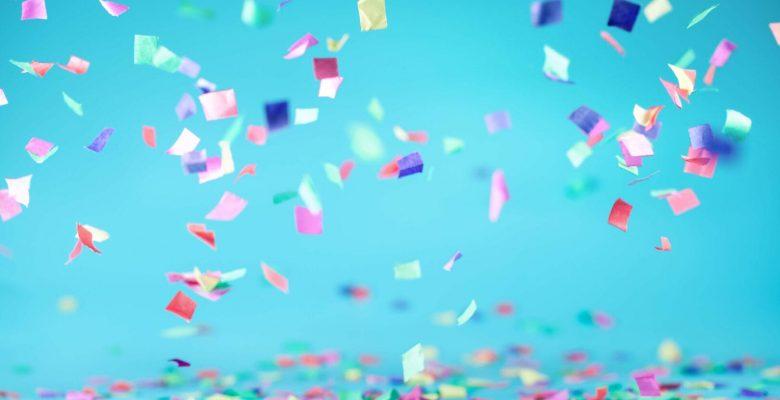 colourful confetti blue background