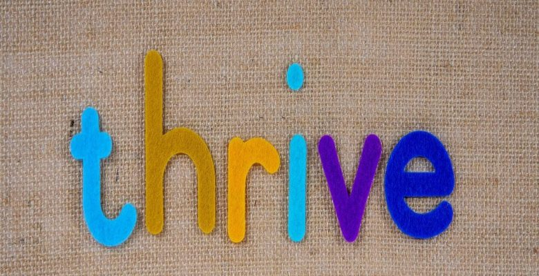 Thrive text on grey background