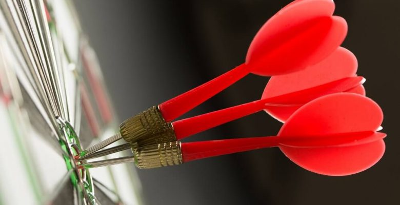 3 darts in bullsesye dartboard
