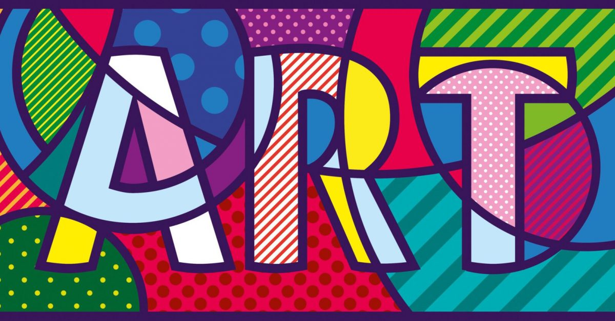Art text on colourful background