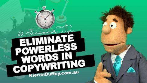 Video explaining importance of eliminating powerless words in copywriting