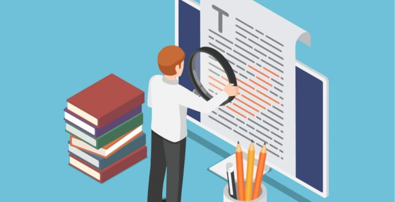 man with magnifying glass proofreading document