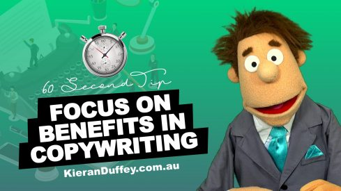 Video explaining the importance of focusing on benefits in copywriting