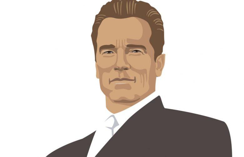 Arnold Schwarzenegger cartoon in suit