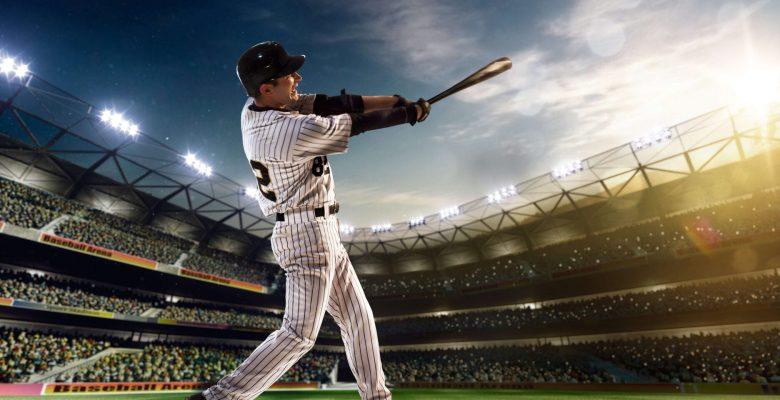 baseballer smashing home run out of park