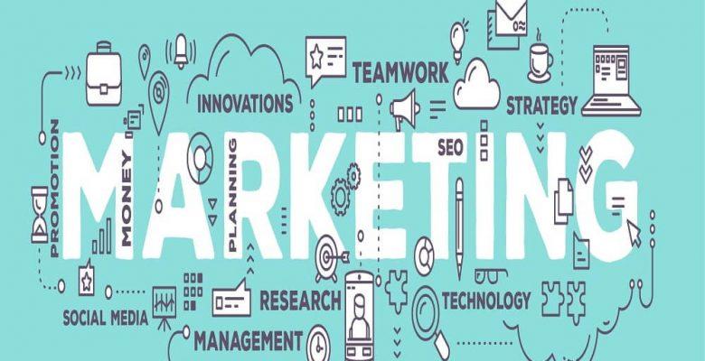 Key components of marketing displayed around marketing text