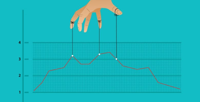 fingers holding key points on graph