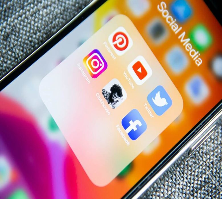 Social Media icons displayed on phone