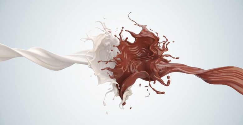 white and brown drink splashing together
