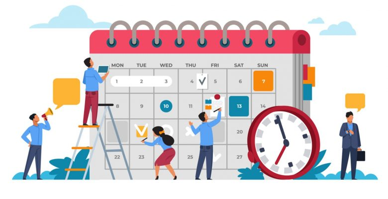 group of people planning calendar