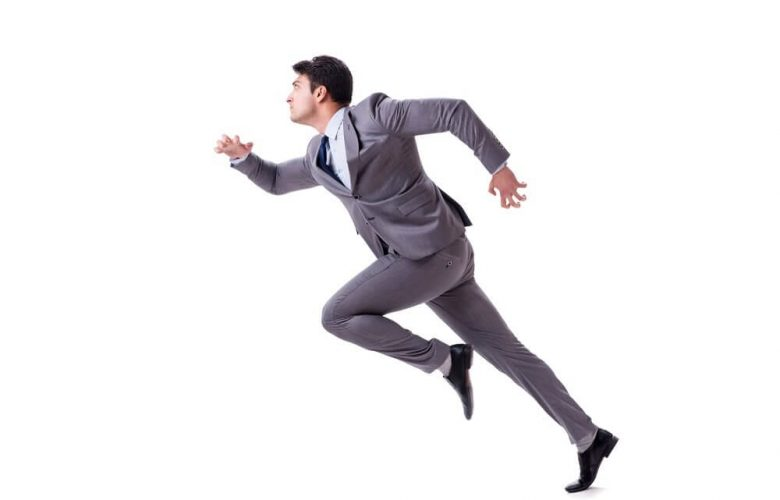businessman sprinting