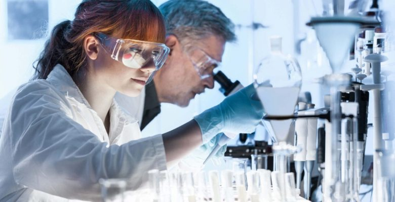 woman and man working in laboratory
