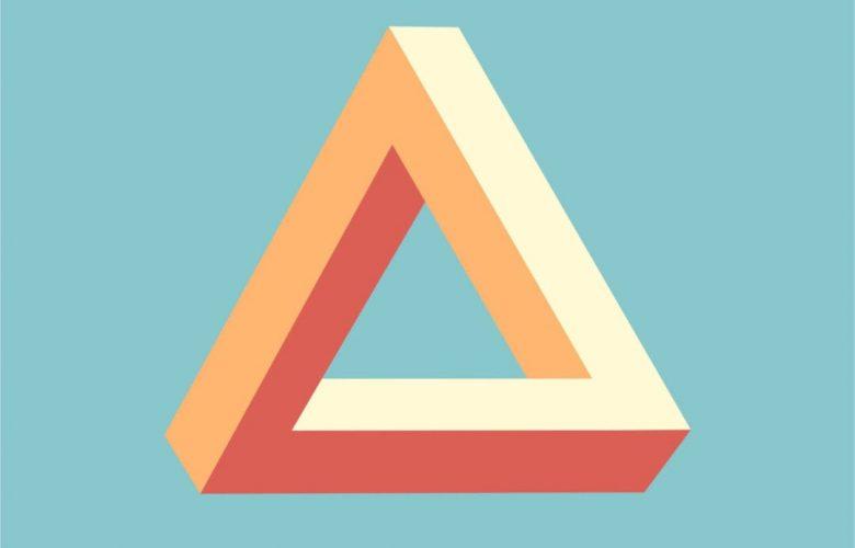 triangle shape on blue background