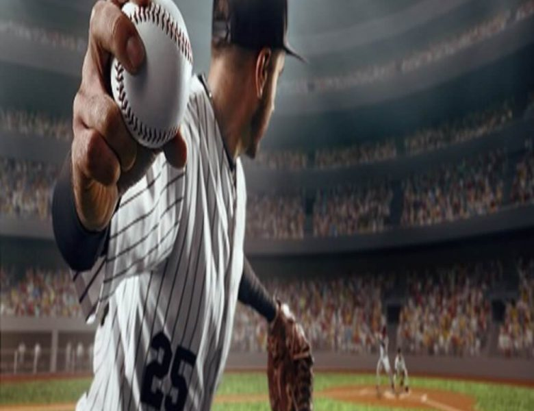 Baseballer pitching to batter